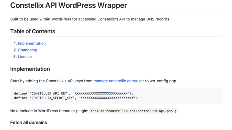 WordPress Wrapper for Constellix DNS API